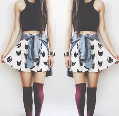 High Waisted Skater Skirt And Crop Top
