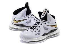 Lebron 10 White Black Gold Medal Lebron James Shoes 2013 - Click Image to  Close