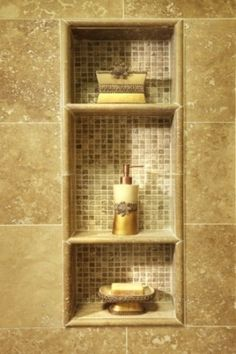 Shower shelves with tile inset.Traditional Bathroom Design, Pictures, Remodel, Decor and Ideas - page 55 Shower Niche, Master Shower, Bath Shower, Shower Box, Shower Units, Bathroom Showers, Douche Design, Shower Shelves, Shower Storage