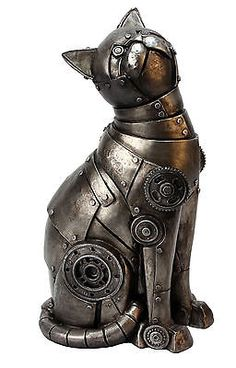 Cats in Art, Illustration and Sculpture: Futuristic Robot Mechanical Cat Figurine Cyborg Robotic Armour Plated Ornament Steampunk Kunst, Steampunk Cat, Style Steampunk, Steampunk Design, Steampunk Fashion, Steampunk Clothing, Steampunk Costume, Cyberpunk, Steampunk Animals