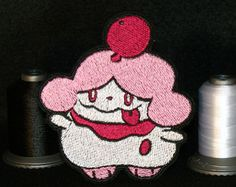 Slurpuff!  Ice cream pokemons!  - Iron or sew on patch.  Beautiful shimmer and detail!  Perfect gift for the Pokemon lover in your life to accompany the release of Sun and Moon.