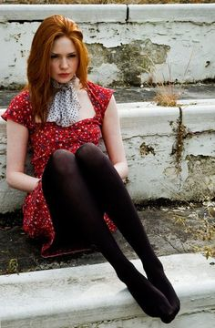 "mooi rood is niet lelijk ♥ Red hair - Karen Gillan (Born: Karen Sheila Gillan - November 1987 - Inverness, Highland, Scotland, UK) as Amelia ""Amy"" Pond Karen Gillan, Karen Sheila Gillan, Pantyhosed Legs, Polka Dot Scarf, Polka Dot Tights, Floral Skater Dress, Redhead Girl, Beautiful Redhead, Auburn Hair"