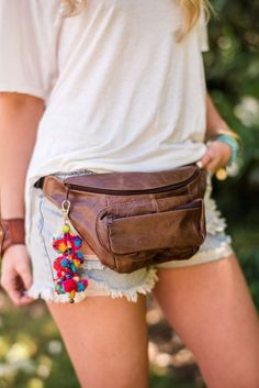 Leather handcrafted fanny pack with places & pockets for all the necessities. Boasting 3 zippered pockets and an adjustable belt this fanny pack will have you asking why you ever carried a purse! You