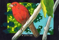 "Saatchi Art Artist Luca Sanna; Painting, ""Red bird"" #art"