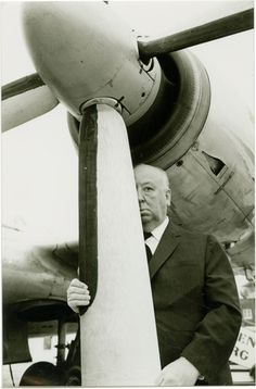 "Alfred Hitchcock on the set of ""North by Northwest"""