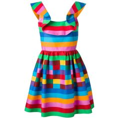 Valentino 1973 striped dress (6.070 RON) ❤ liked on Polyvore featuring dresses, rainbow, valentino, multicolour, colorful dresses, flounce dress, rainbow stripe dress, low back dress and valentino dresses