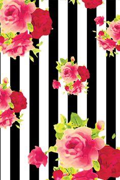 iPhone Wallpaper floral wallpaper pink black white stripe roses