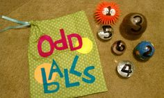LDS Primary Chorister Ideas: Odd Balls.  number songs, correspond with numbers on balls (review)