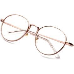 SheIn(sheinside) Rose Gold Delicate Frame Clear Lens Glasses (29.830 COP) ❤ liked on Polyvore featuring accessories, eyewear, eyeglasses, glasses, sunglasses, fillers, round eyeglasses, clear lens glasses, round glasses and clear eyeglasses