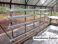 I installed gutters in the greenhouse so I could plant small veggies like radish & spinach in early spring.