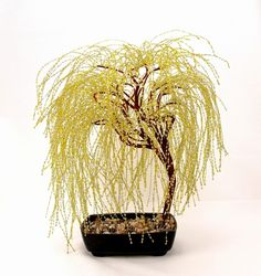 Golden Weeping Willow Beaded Bonsai Tree - Glass and Wire Tree Sculpture -  t0147 by BeadedPointOfView
