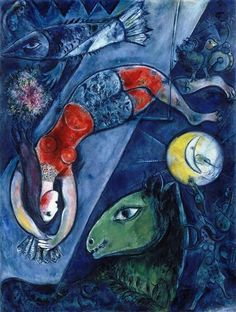 Marc Chagall – The Blue Circus. The magnificent beauty displayed in Marc Chagall's The Blue Circus is incomparable. Chagall's genius lies with being able to compose many paintings… Marc Chagall, Artist Chagall, Chagall Paintings, Pablo Picasso, Musée National D'art Moderne, Museum Poster, Art Museum, Kunst Poster, Ouvrages D'art