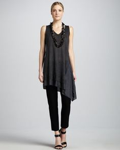 Layered V-Neck Asymmetric Tunic & Slim Ankle Pants  by Eileen Fisher at Neiman Marcus.