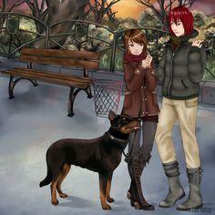 Sucrette et Castiel en promenade avec Démon