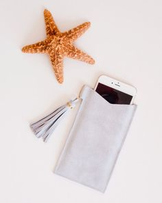 iPhone 6 Plus Sleeve Grey Suede Leather Case by theAtlanticOcean -except the price. sheesh