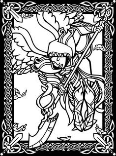 Fantasy Warriors Stained Glass Coloring Book Dover Publications