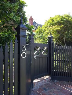 Modern House Number Aluminum Modern Font Number One 1 - how to build a fence Front Gates, Front Fence, Front Yard Fence Ideas Curb Appeal, Low Fence, Farm Fence, Modern Fencing And Gates, Modern Font, Modern Design, Front Yard Decor