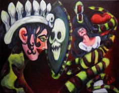 Snow White and the Evil Queen with the Magic Mirror surreal original gothic horror acrylic painting on Etsy, $325.00