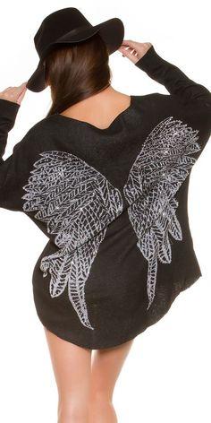 Schwarzer Pullover mit Flügel und Strass Nieten am Rücken Shirt Top Gr.M