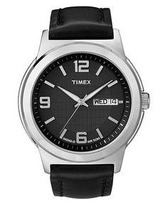 Timex Watch, Men's Black Leather Strap T2E561UM