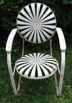 Carre Sunburst/Pin Wheel Rare Iron Garden Chair Circa 1860 www.rubylane.com #garden