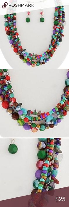 """Five Strand Multi Color Mix Bead Necklace Earring Five Strand/ Multi Color/ Glass Seed Bead/ Glass Faceted Bead/ Lucite Faceted Bead/ Stone Chips/ Silver Tone Finish /Lead And Nickel Free/ Necklace With Matching Earring/16"""" Long With A 3"""" Extension. Jewelry Necklaces"""