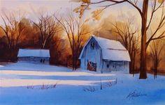"Daily Paintworks - ""Winter demo II"" - Original Fine Art for Sale - © Kathy Los-Rathburn"
