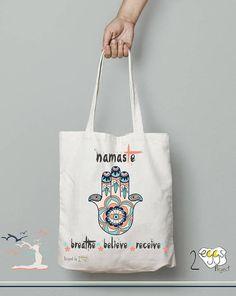 Yoga bag Bag tote canvas Namaste sign Hamsa hand Gift for