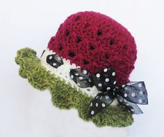 This pattern is for a beautiful Watermelon hat and includes detailed, easy to read instructions. This hat is so fun and easy to make!