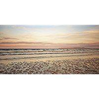 Artland Echt-Glas-Wandbild Deco Glass Andrea Potratz Sonnenuntergang im Watt Landschaften Strand Fotografie Pink/Rosa 30 x 60 x 1,1 cm