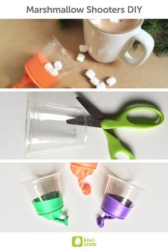 Marshmallow Shooters DIY! This is such a fun and simple activity to do with young kids when it's too cold to play outdoors! Create mini marshmallow shooters with everyday household items. Get extra cozy with some hot cocoa and see how many marshmallows land inside your mug! It kept my high-energy nieces and nephews busy for quite some time.