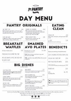 The Pantry Edinburgh - Day menu