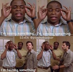 Gus pretending to be psychic! Psych Memes, Psych Quotes, Psych Tv, Tv Show Quotes, Carlton Lassiter, True Tv, Mon Son, Real Detective, Shawn And Gus