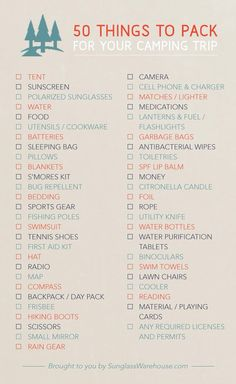 50 things to pack to go camping.
