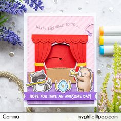 Today I'm joining in the Lawn Fawnatics challenge to create a project with a birthday theme. I decided to make a birthday card for my niece, using the Lawn Fawn magic iris interactive die. Paper Craft Making, Lawn Fawn Stamps, Interactive Cards, Pop Up Shops, Kids Cards, Cute Cards, Handmade Crafts, Making Ideas, Cardmaking
