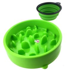 T-HOME Slow Feed Dog Bowl, Anti-gulping Pet Food Feeder Stopping Bloat from Eating too Fast, Portable FDA Silicone Travel Bowl Includes -- Startling review available here  : Dog bowls