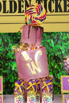 Take a look at this amazing Willy Wonka birthday party! The birthday cake is fantastic! See more party ideas and share yours at CatchMyParty.com    #catchmyparty #partyideas #candylandparty #birthdaycake #charlieandthechocolatefactory #willywonka #willywonkaparty #girlbirthdayparty