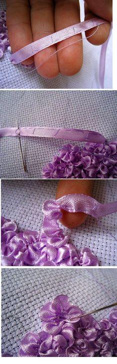 "Dicas de Artesanato Bordado com Fita de Cetim ""These pretty ribbon flowers remind of Lilacs. I would love to sew them on a wedding garment, or a summer dre Ribbon Embroidery Tutorial, Silk Ribbon Embroidery, Embroidery Stitches, Embroidery Patterns, Hand Embroidery, Sewing Patterns, Flower Embroidery, Embroidered Silk, Embroidery Books"