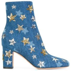 Valentino Star Embroidered Denim Ankle Boots ($1,795) ❤ liked on Polyvore featuring shoes, boots, ankle booties, blue, chunky booties, denim boots, high heel ankle boots, square toe boots and denim booties