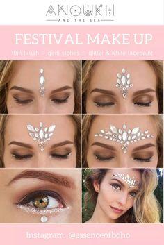 Festival MakeUp: White Gemstone Festival Look Glitzer Edelsteine Festival Make-up Look Festival Style Source by . Festival Looks, Festival Make Up, Festival Style, Festival Trends, Festival 2017, Festival Camping, Rave Makeup, Diy Makeup, Makeup Ideas