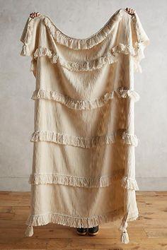 Anthropologie Elaria Fringed Throw Blanket