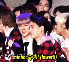 Haha you tall Maknaes are in Minho's way!