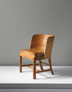 Kaare Klint; #5121 Mahogany and Leather Chair for  the Crown Prince Frederik IX of Denmark and Princess Ingrid of Sweden, 1935.