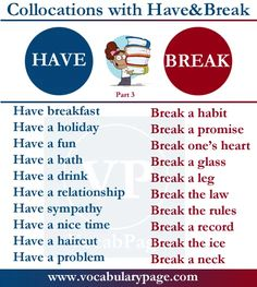Collocations with HAVE & BREAK #learnenglish