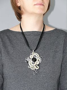 Yellow gray black soutache necklace with Onyx and by ANBijou
