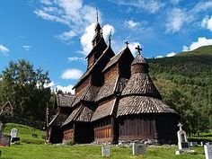 Borgund Stavekirk, Norway; completed c. 12th Century Supposedly there is a replica of this church in Rapid City, South Dakota.