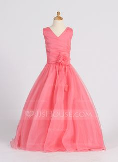 [NZ$ 137.07] Princess Floor-length Flower Girl Dress - Organza Sleeveless V-neck With Flower(s) (010007398)