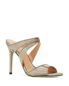 Halston Heritage Brittney Metallic High Heel Slide Sandals In Gold Gold High Heels, Leather High Heels, Walk In My Shoes, Slip On Shoes, Metallic Gold Shoes, Slide Sandals, Shoes Sandals, Gold Sandals, Heeled Sandals