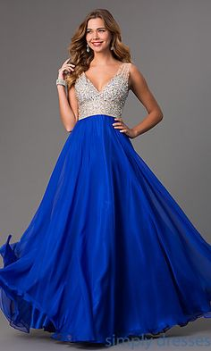 Shop long prom dresses and military ball gowns with bejeweled bodices at Simply Dresses. Sleeveless pageant gowns and long formal party dresses.