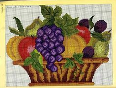 Cross Stitch Fruit, Cross Stitch Rose, Cross Stitch Flowers, Hand Embroidery Stitches, Cross Stitch Embroidery, Embroidery Patterns, Cross Stitch Designs, Cross Stitch Patterns, Crochet Fruit